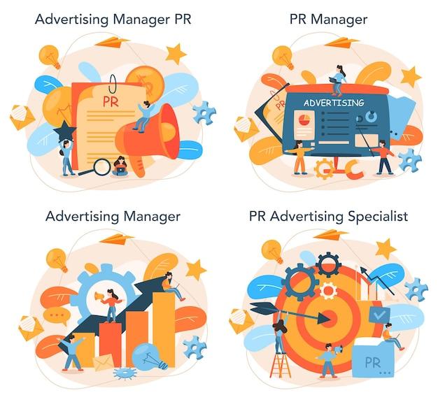 Conjunto de concepto de administrador de publicidad