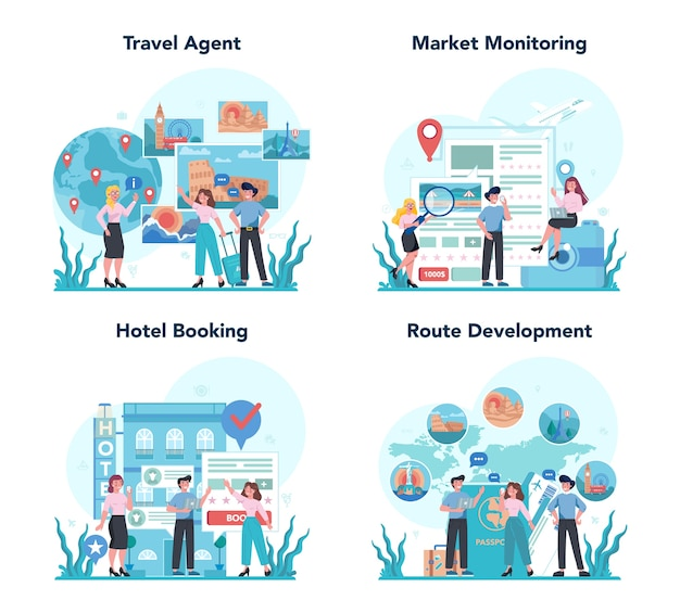 Conjunto de concepto de agente de viajes