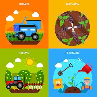 Conjunto de concepto de agricultura