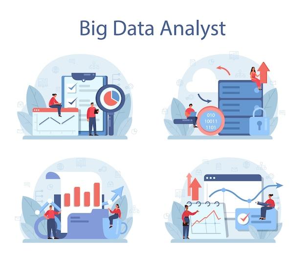 Conjunto de concepto de análisis y análisis de datos grandes de negocios.