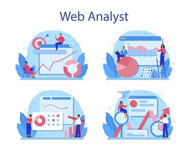 Conjunto de concepto de analista de sitio web