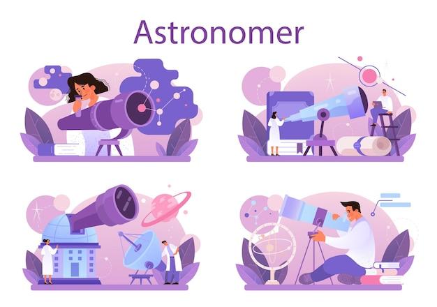 Conjunto de concepto de astrónomo. ilustración vectorial plana