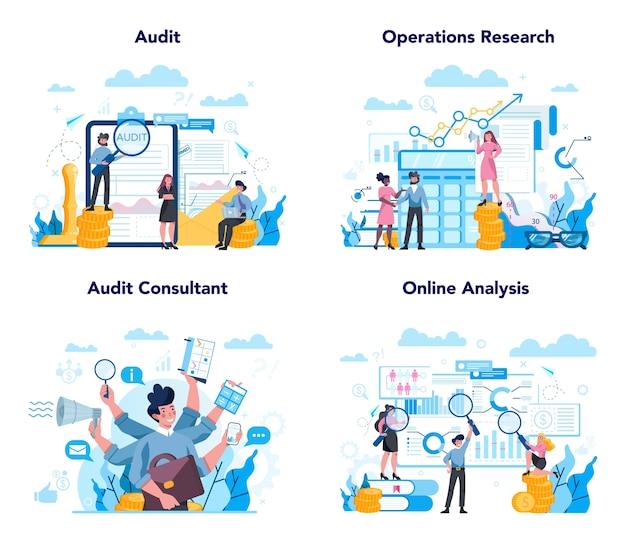 Conjunto de concepto de auditoría. investigación y análisis de operaciones comerciales. inspección y analítica financiera.