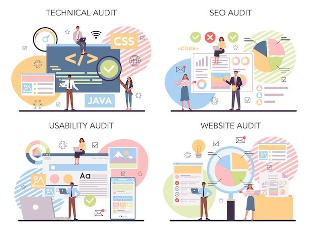 Conjunto de concepto de auditoría de sitio web