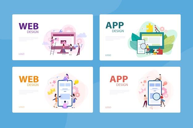 Conjunto de concepto de banner de desarrollo web y aplicaciones móviles. aplicación de programación para dispositivo digital. creación de interfaz para usuario. ilustración con estilo