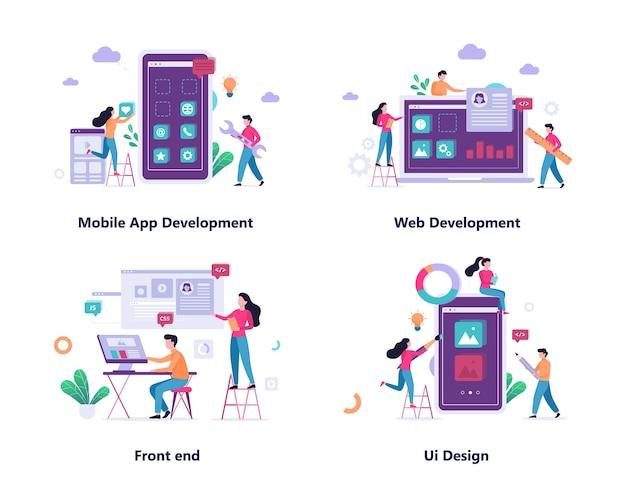 Conjunto de concepto de banner de desarrollo web y aplicaciones móviles