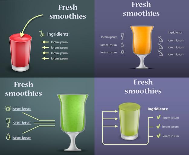 Conjunto de concepto de banner de jugo de fruta batido