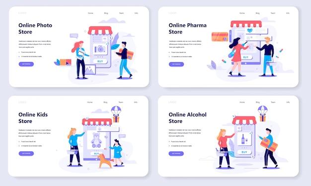 Conjunto de concepto de banner web de compras en línea. comercio electrónico, cliente a la venta. aplicación en teléfono móvil. tienda de fotografía, alcohol y farmacia. ilustración con estilo