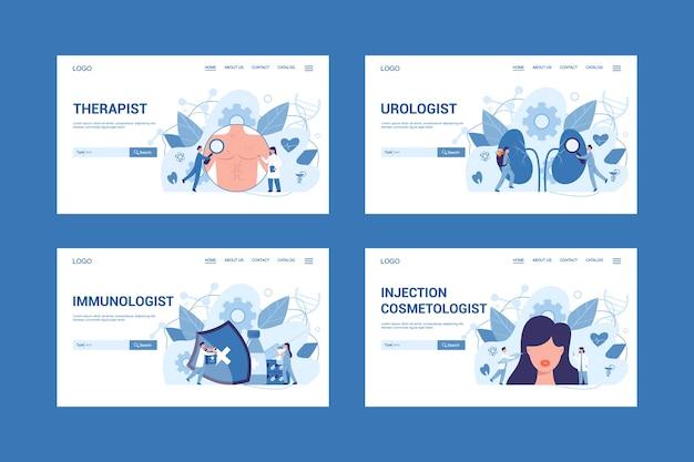 Conjunto de concepto de banner web de especialidad médica y examen. terapeuta y urólogo, inmunólogo y cosmetólogo de inyecciones. diagnóstico y tratamiento de enfermedades.