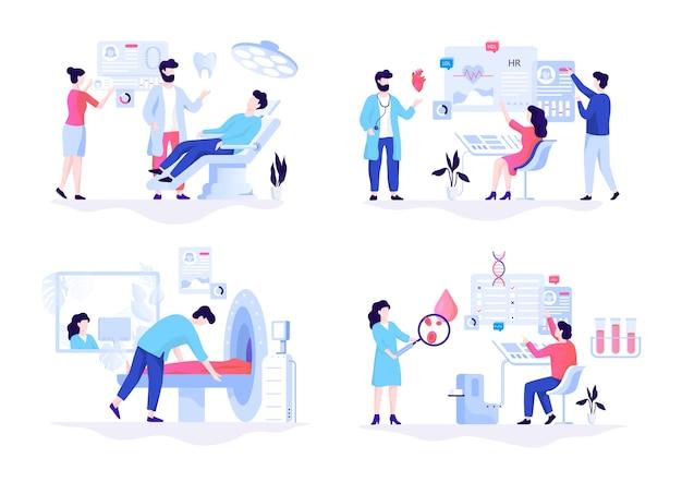 Conjunto de concepto de banner de web de medicina. análisis de sangre y dentista
