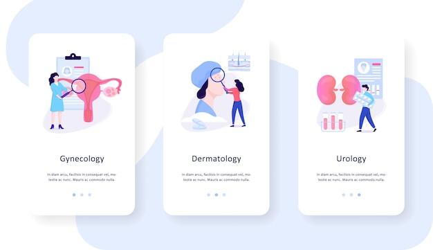 Conjunto de concepto de banner web móvil de especialidades médicas. ginecología, dermatología y urología. tratamiento de enfermedades, asistencia sanitaria. ilustración con estilo