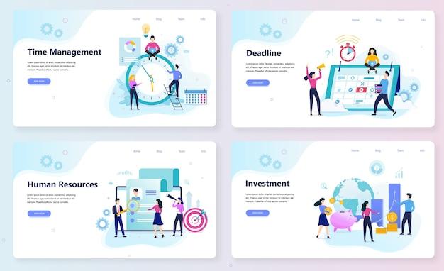 Conjunto de concepto de banner web de negocios y finanzas