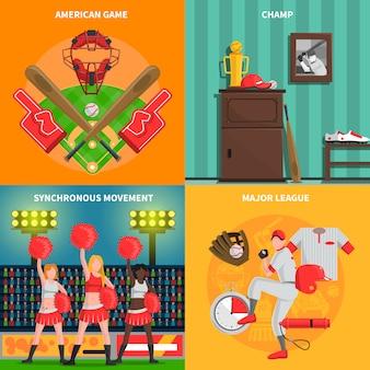 Conjunto de concepto de béisbol
