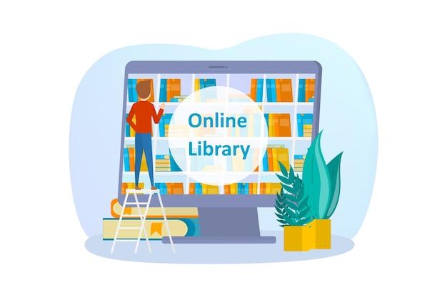 Conjunto de concepto de biblioteca en línea. usar el teléfono móvil y la computadora para el aprendizaje y la educación. la gente lee libros digitales en sus teléfonos inteligentes. ilustración