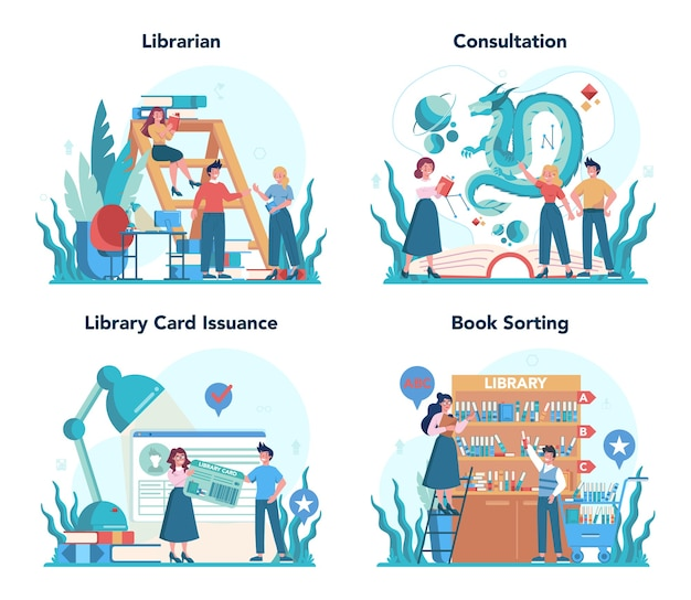 Conjunto de concepto de bibliotecario. el personal de la biblioteca sostiene y clasifica el libro.