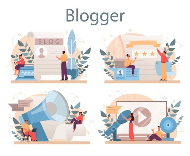 Conjunto de concepto de blogger