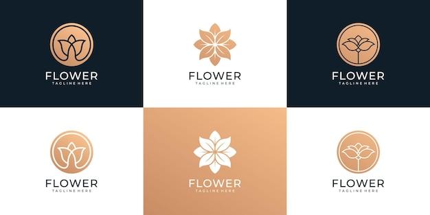 Conjunto de concepto de boutique de belleza flor naturaleza spa salón