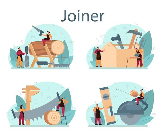 Conjunto de concepto de carpintero o carpintero