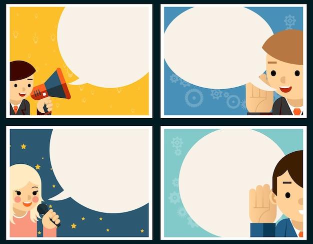 Conjunto de concepto de cartel de habla y escucha. globo y pancarta, charla y diálogo, discurso