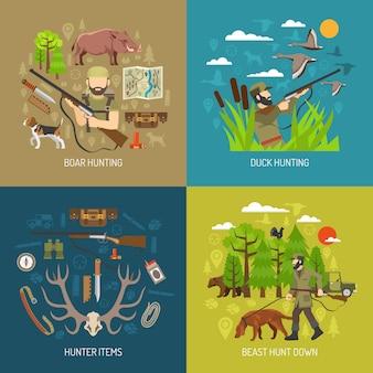 Conjunto de concepto de caza 2x2