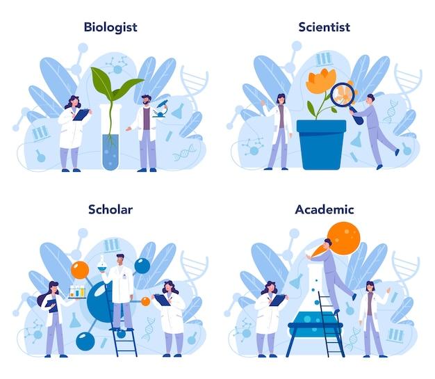 Conjunto de concepto de ciencia biología