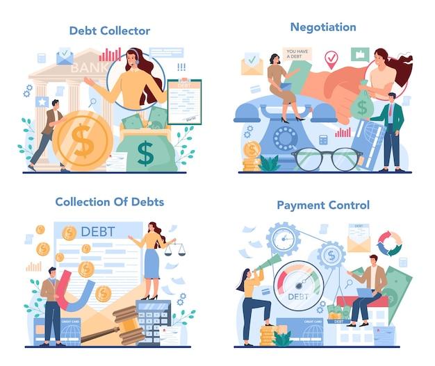 Conjunto de concepto de cobrador de deudas