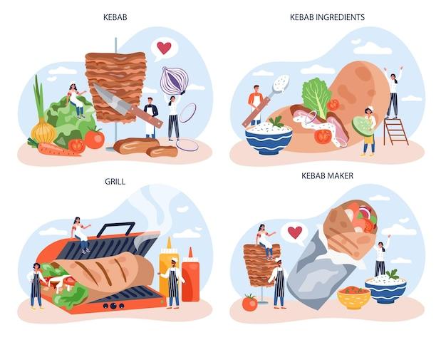 Conjunto de concepto de comida callejera de kebab