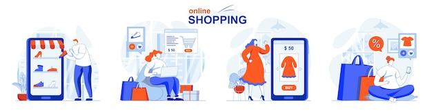 Conjunto de concepto de compra en línea, los compradores seleccionan los productos en el sitio, pagan y reciben el pedido