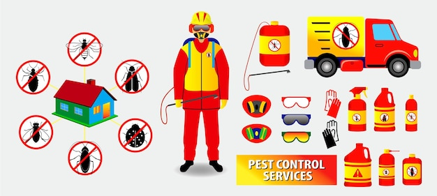 Conjunto de concepto de control de plagas o vector eps aislado de insectos prohibidos