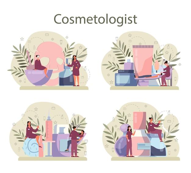 Conjunto de concepto de cosmetóloga, cuidado de la piel y tratamiento.