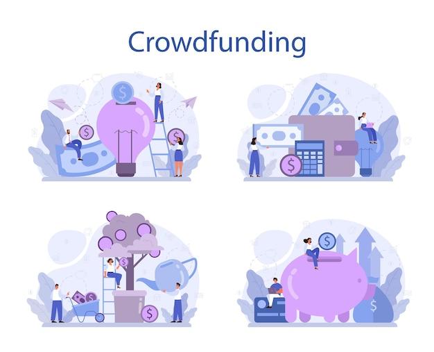 Conjunto de concepto de crowdfunding