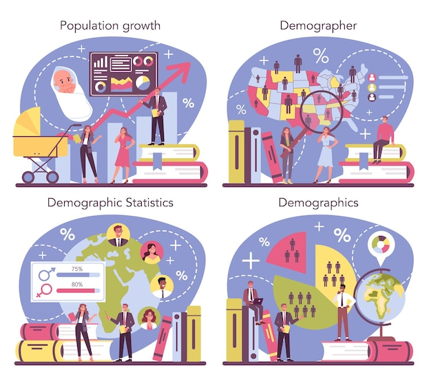 Conjunto de concepto de demógrafo. científico que estudia el crecimiento de la población, analiza datos y estadísticas demográficas en un área durante un período de tiempo. ilustración de vector aislado