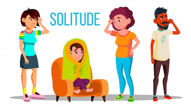 Conjunto de concepto de depresión de carácter de soledad