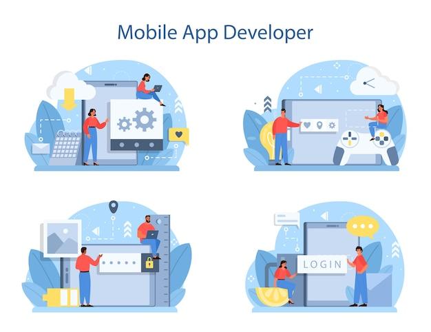 Conjunto de concepto de desarrollo de aplicaciones móviles.