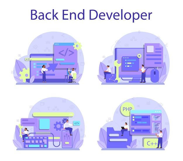 Conjunto de concepto de desarrollo back-end