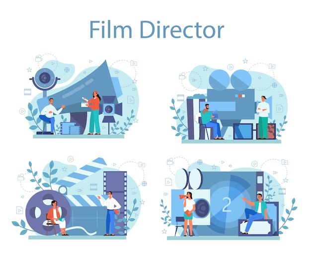 Conjunto de concepto de director de cine. idea de gente creativa y profesión. director de cine que lidera un proceso de filmación. badajo y cámara, equipo para la realización de películas.