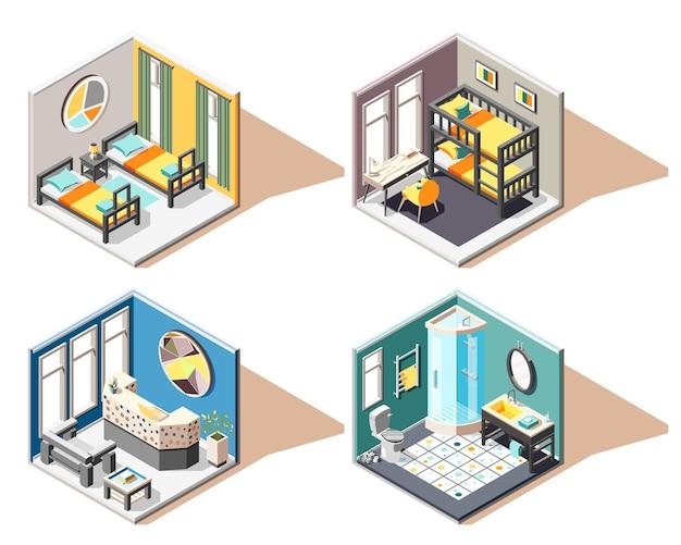 Conjunto de concepto de diseño de albergue 2x2 de ilustración de interiores isométricos de recepción de baño de habitación de invitados