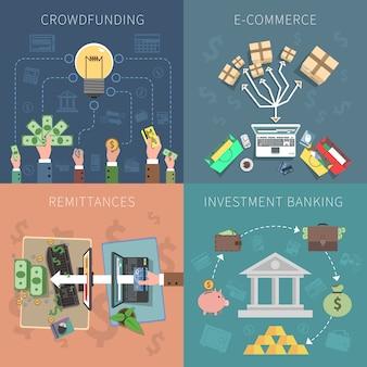 Conjunto de concepto de diseño de banco
