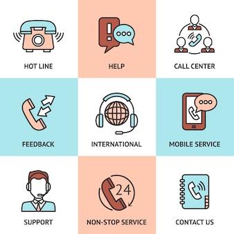 Conjunto de concepto de diseño de centro de llamadas