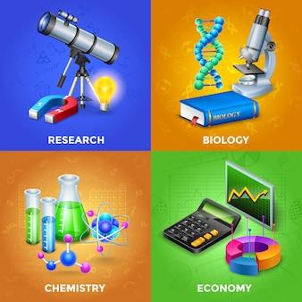 Conjunto de concepto de diseño de ciencia