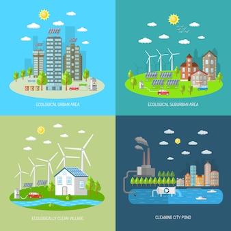 Conjunto de concepto de diseño de ciudad ecológica