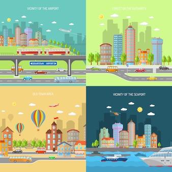 Conjunto de concepto de diseño de ciudad transpot