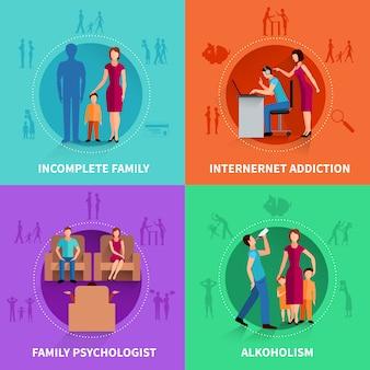 Conjunto de concepto de diseño de conflicto familiar