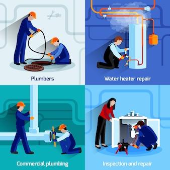 Conjunto de concepto de diseño de fontanero