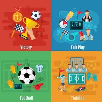 Conjunto de concepto de diseño de fútbol