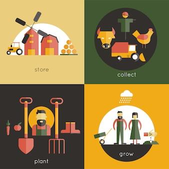 Conjunto de concepto de diseño de granja
