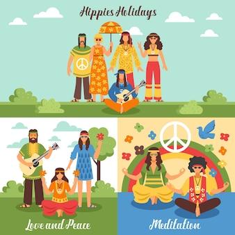 Conjunto de concepto de diseño hippie