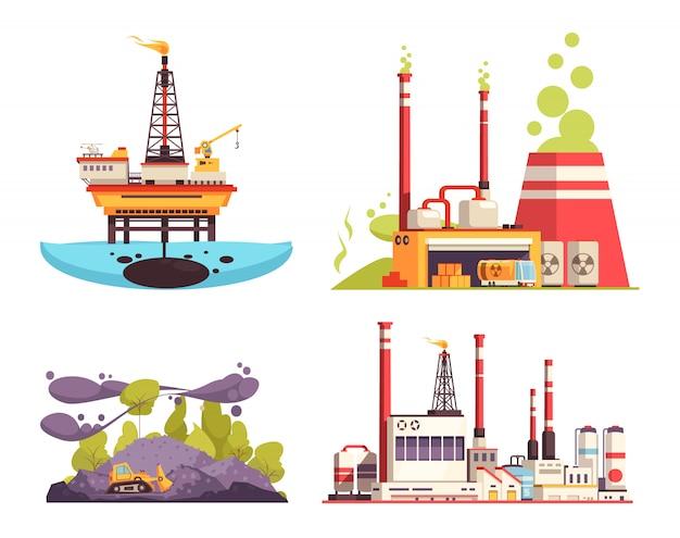 Conjunto de concepto de diseño de industria 2x2 de ilustración aislada de contaminación de estación de energía de refinería de plataforma costa afuera de petróleo