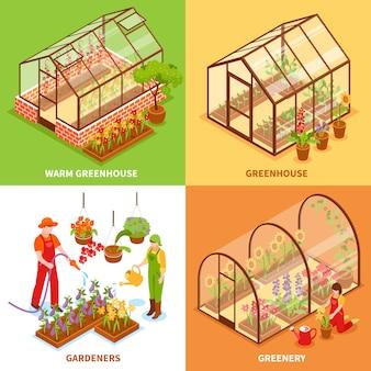 Conjunto de concepto de diseño de invernadero