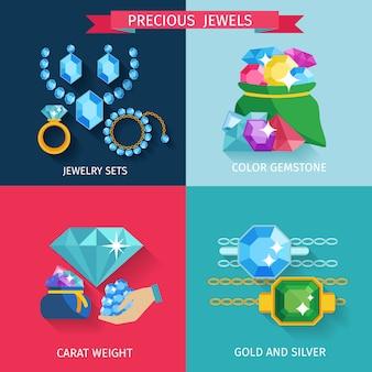 Conjunto de concepto de diseño de joyas preciosas